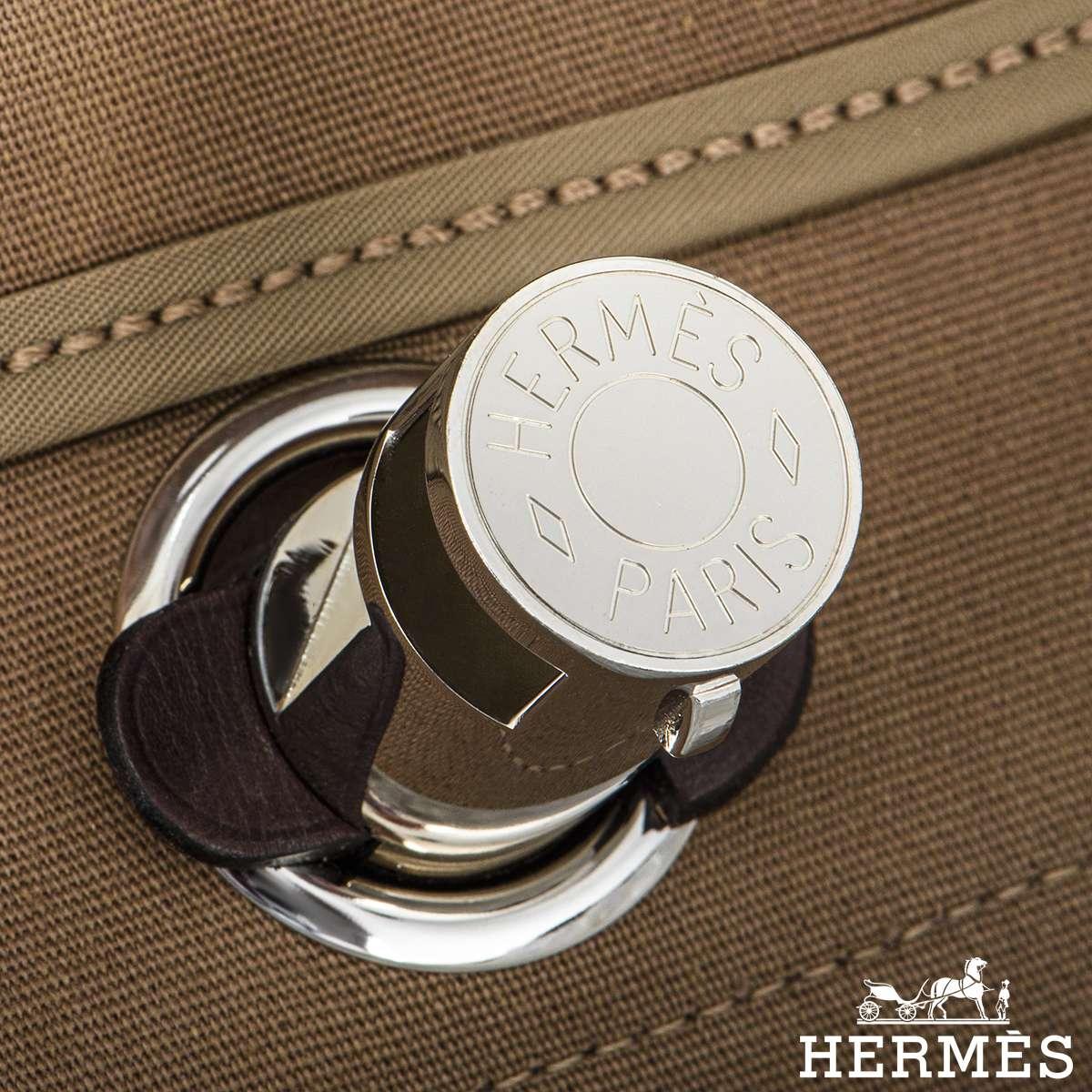 Hermès Herbag Zip Retourne Ebene Vache Leather Etoupe Canvas GM
